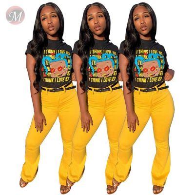 0043037 2020 summer Latest Design casual digital letter print ladies Tops Manufacturer Custom Girls' Tee Women Plain T Shirt