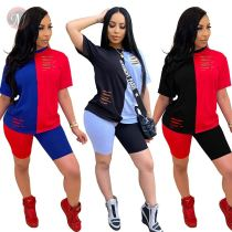0043021 2020 Summer Sexy hole solid color splice Outfits Two Piece Short Set Women Clothing 2 Pcs Track Suit For Women Two Piece