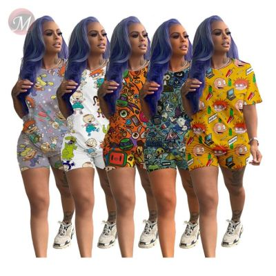 0043006 New stylish Summer 2020 cartoon print casual 2 Pcs Track Suit Outfits leisure suit Two Piece Shorts Set Women Clothing