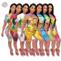 0043023 Hot onsale Summer easeful cartoon print tie-dye leisure suit 2 Pcs Track Suit Outfits Two Piece Short Set Women Clothing