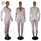 0043034 2020 Wholesale casual print Custom Fitness loose Jump Suit Bodycon Sexy Women One Piece plus size Jumpsuits For Woman