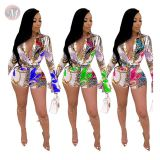 0043004 Wholesale Summer 2020 tailored collar print Ladies Jump Suit Basic Bodysuits Women One Piece Short Jumpsuits And Rompers