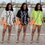 0043027 Fashionable Ladies Basic Latest Design Tops Manufacturer Custom letter offset print Girls Tee Summer Women Plain T Shirt