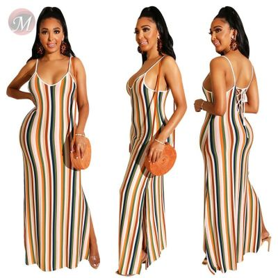 0043007 2020 Latest design spaghetti strap v neck striped print backless bandage Sexy Summer Women Girls' Casual maxi long Dress