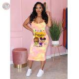 0043002 Best seller 2020 Lady Sexy slip dress cartoon print tie-dye bodycon Clothes Elegant Summer Women Girls' Casual Dress