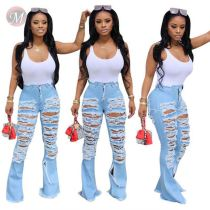 0043026 Latest design sexy streetwear Summer Women mid waist denim pants Female Bottoms Ladies broken hole Trousers Jeans Pants