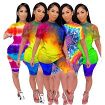 0043020 Fashion 2020 Summer Sexy colorful tie-dye sports suit 2 Pcs Track Suit Outfits Two Piece Shorts Set Women Clothing