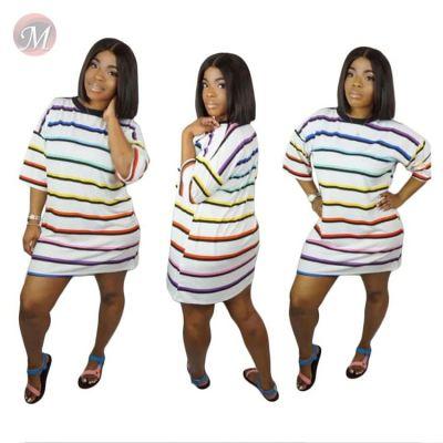 0043030 High quality ladies 2020 loose fashion dresses women casual summer striped short sleeve straight tshirt short dress