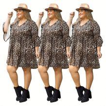 0042902 Hot Onsale V-Neck Flared Half Sleeve Big Size Ladies Casual Dresses Loose Hem Leopard Women Plus Size Short Summer Dress