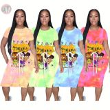 0051215 Hot onsale 2020 trendy cartoon print tie dye 4 colors Women Girls' Sexy Clothes Bandage Lady Elegant Summer Casual Dress