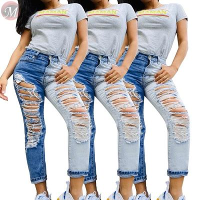 0042811 Best design mid waist hole washed splice Summer Women Female Bottoms Ladies Trousers Jeans Pants