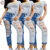 0042811 Best design mid waist hole washed splice Summer Women Female Bottoms Ladies Trousers Jeans Pants