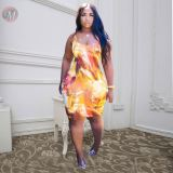 0051217 Wholesale price 2020 Summer gradient color sleeveless bodycon Lady Sexy Clothes Elegant Women Girls' Casual Dress
