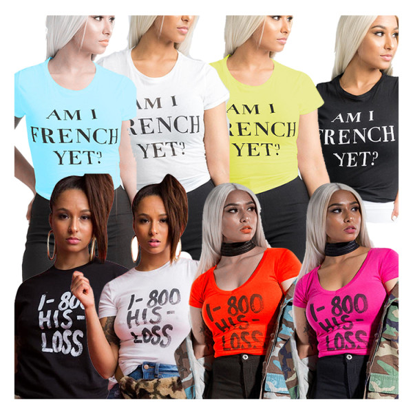 0050501 Newest Design Trendy Solid Color Summer Casual Tee Woman Clothing Fashion Short Sleeve Letter Printed Tshirt T-Shirts