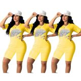 0042912 Newest Design 2020 Summer Fashoinal Yellow Applique Rhinestone Pattern Short Sleeve Casual Women Two Piece Suit Outfits