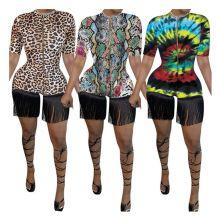 0042920 New Casual Zipper Bodycon Short Jumpsuit Sexy Rompers Tassel Spliced Leopard Snakeskin One Piece Womens Summer Jumpsuit