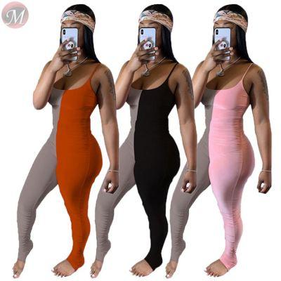 0042823 Wholesale Custom 2020 summer Jump Suit Sexy Bodycon Splice pleated condole belt jumpsuit Women One Piece Rompers