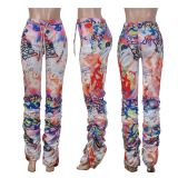 0042914 Wholesale Price Cheap Mid Waist Letter Printed Long Pant Positioning Print Pleated Flared Stacked Women Sport Pants