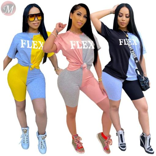 0042804 Good quality Summer casual splice letter print  sports suit 2 Pcs Track Suit Outfits Two Piece Shorts Set Women Clothing