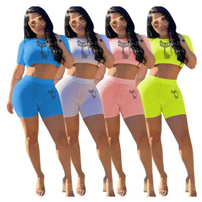 0042921 Lowest Price Hot Sale 4 Colors Solid Rhinestone Tracksuits Summer Crop Top Shorts Leisure Sports Womens 2 Piece Outfits