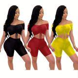 0042906 Wholesale Fashion Solid Color Drawstring Pleated Crop Top Shorts Set Rib Off Shoulder Fashion Women 2 Piece Set Clothing