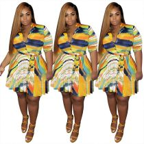 0042901 New Design Summer Irregular Colorful Striped Mini Women Dress Fat Ladies Casual Button Printed Belt Plus Size Dresses