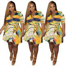 0042901 New Design Summer Irregular Colorful Striped Mini Women Dress Fat Ladies Casual Button Printed Belt Plus Size Dresses