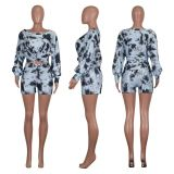 0042918 Fashionable Summer Colorful Tie Dye 2 Piece Short Set Ladies Casual Lantern Long Sleeve Printed Women Two Piece Outfits