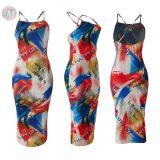 0051201 New design spaghetti strap backless digital printing Lady Sexy Clothes Elegant Summer Women Girls' bodycon Casual Dress