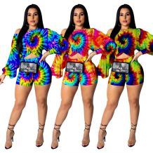 0042915 Fashion Casual Design New Tie Dye Long Puff Sleeve Sloping Shoulder Shorts Sets Colorful Woman Trendy Two Piece Outfits