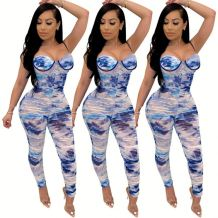 0042907 Newest Design Sexy Casual Summer Spaghetti Strap Bodycon Romper Pleated Long Pant Tie Dye One Piece Women Jumpsuit