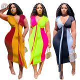 0051209 Wholesale 2020 Summer Sexy v neck short sleeve splice bodycon Lady Elegant Clothes Women Girls' Casual Long Dress