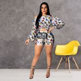 0042916 Design Fashion Colorful Trendy Printed Puff Sleeve Womens Sports Set Wide Neck Crop Top And Shorts Summer Two Piece Set