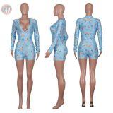 0051210 Wholesale Custom print Summer 2020 Ladies Jump Suit Basic Bodysuits Women One Piece Short Jumpsuits And Rompers