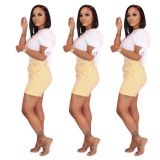 0042908 Best Seller White Casual Lace Up Sleeve T Shirt Plaid Shorts Two Piece Set Woman Leisure Daily 2 Piece Summer Short Set