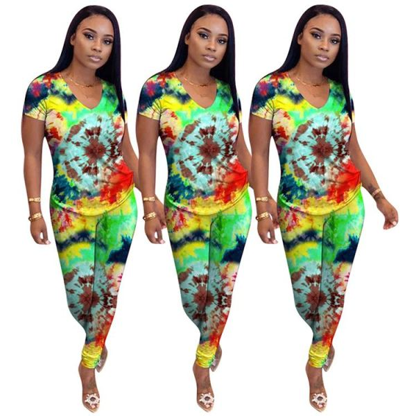 0042919 Hot Selling Multicolor Printed Short Sleeve Womens Sports Set T-Short Long Trouser Printed Casual Two Piece Pants Set