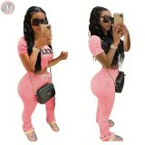 0042814 New 2020 skinny Stacked Pants set Top And Pants Sexy 2 Pcs Track Suit Outfits Two Piece Set Women Clothing For Women