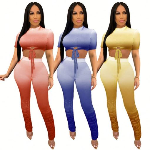 0042905 Sexy Crop Top Stacked Pants Gradient Color Two Piece Set Summer Tshirt Pleated Flared Casual Women Clothing 2 Piece Set