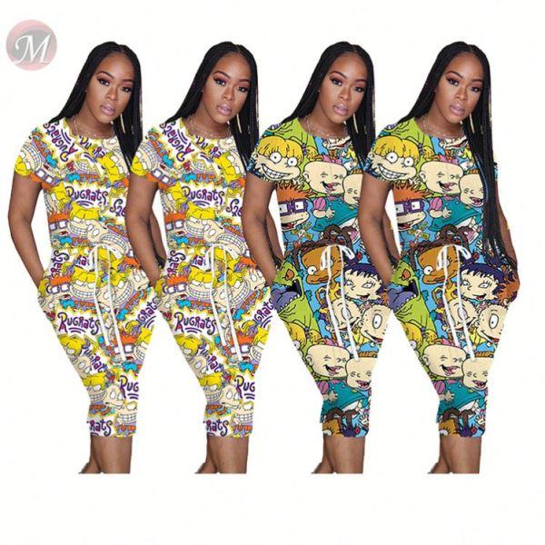 0051214 Wholesale fashion 2020 Women Summer cartoon print drawstring tight dress Girls' Sexy Clothes Lady Elegant Casual Dress
