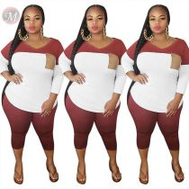 0051207 Stylish 2020 Summer Sexy fat ladies splice 2 Pcs Track Suit Outfits plus size Two Piece Set Women Clothing For Women