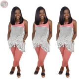 0042805 Wholesale fashion 2020 Summer Sexy sleeveless stripe splice loose 2 Pcs Track Suit Outfits Two Piece Set Women Clothing