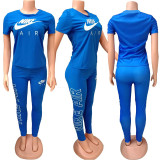Q051324-3 Summer Solid Color NIKE O Neck Long Pant And Short Sleeve Women Two Piece Sport Track Suit Outfits