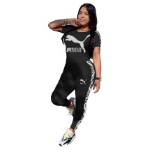 Q051320-2 Fashionable Solid Color O Neck Long Pant And Short Sleeve Women Two Piece Sport Track Suit Outfits