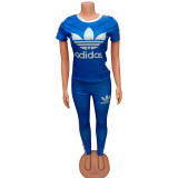 Q051317-4 Fashion Solid Color O Neck adidas Long Pant And Short Sleeve Striped Women Two Piece Sport Track Suit Outfits
