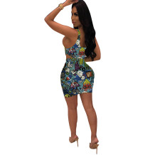 Q051313-4 2020 Summer Sexy cartoon print 2 Pcs Dress Outfits bodycon Skirt And Top Two Piece dress Set Women Clothing