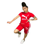 Q051319-1 Solid Color O Neck Short Pant And Short Sleeve Women Two Piece Sport Track Suit Outfits