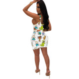 Q051313-1 2020 Summer Sexy cartoon print 2 Pcs Dress Outfits bodycon Skirt And Top Two Piece dress Set Women Clothing
