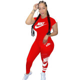 Q051318-1 Summer 2020 Fashion Solid Color O Neck NIKE Long Pant And Short Sleeve Women Two Piece Sport Track Suit Outfits