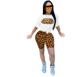 Q051321-1 Summer Newest fashion sports leopard spliced print 2 Pcs Track Suit Outfits Two Piece Shorts Set Women Clothing For Women Two Piece