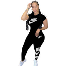 Q051318-2 Summer 2020 Fashion Solid Color O Neck NIKE Long Pant And Short Sleeve Women Two Piece Sport Track Suit Outfits